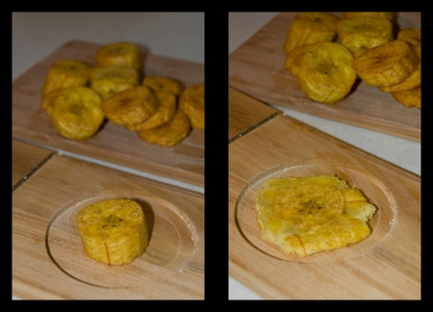 Flatten Plantain Rounds with Tostonera to form Tostones